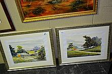 2 Henry Harrison watercolours, each with farmyard
