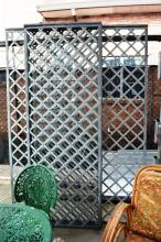 3 Hand forged galvanised steel lattice panels diamond pattern, 2 measure 81cm x 223cm weight 26 kg each, and 1 measures 160 x 223cm, weight 46kg
