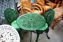 Cast aluminium 3 piece patio setting table and 2 chairs, green painted, comes with cushions