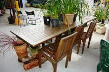 Timber slatted extension outdoor table with 4 slatted chairs