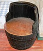 Antique beer barrel with iron fittings, converted