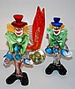 3 pieces of Italian art glass incl. 2 clowns & a