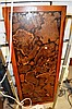 Coffee table top, inset with burl timber design,