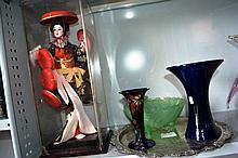 Part shelf: Japanese Geisha doll in display case, Bendigo pottery blue glaze vase, Stanleyware vase,