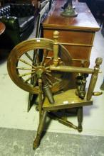 Antique English oak spinning wheel, slight AF
