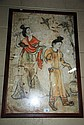 Chinese painting, 2 figures in a garden, signed,