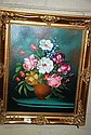 G de Simone oil on canvas floral still life,