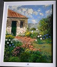 Colleen Parker oil on board, cottage garden,