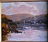 Kasey Sealy oil on board 'Boat restoration, sunset