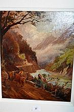 Artist unknown: antique oil on board, 'Highland