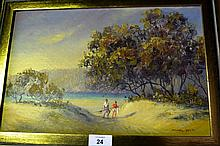 Michael Daviot oil on board 'Ettalong Beach near