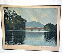 Robert Houston aquatint 'Callander Bridge' with