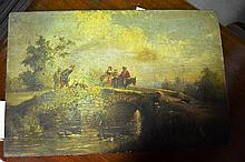 Artist unknown, antique oil on timber panel,