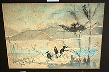 Artist unknown watercolour of birds by a lakeside,