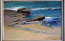 Alan Douglas Baker oil on board, beach fishing
