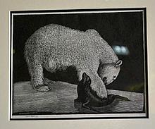 Lionel Lindsay woodcut engraving 'The Polar Bear'
