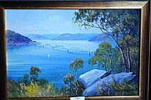 Michael Daviot oil on board 'Rail bridge over