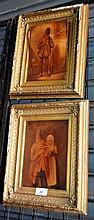 Artist unknown: Pair of antique oil paintings on