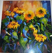 June Young, acrylic on card 'Sunflowers' signed 60