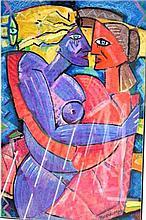 G. Burough pastel of cubist nudes, signed, 75 x