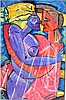 G. Burough pastel of cubist nudes, signed, 75 x