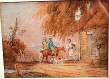 Artist unknown, antique European watercolour of