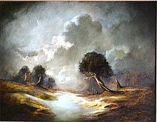 Carl Stringfellow oil on board, figures on a creek