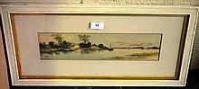 A. Martin, watercolour, fishing boat on river