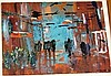 A. Roche, oil on board, abstract scene, signed &