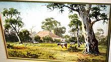 Walter Barratt watercolour, homestead with cows