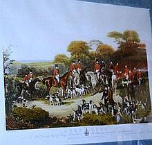Large coloured print 'The Bury Hunt', 47 x 65cm