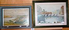 James Adams, watercolour of a river valley