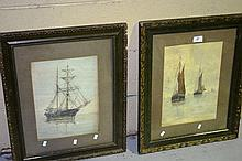 R W Liddell, 2 watercolours, ships at sail, one