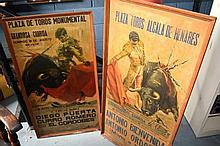 2 x vintage Spanish bull fighting posters framed,
