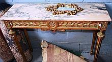 Gilt timber console table, rectangular form,