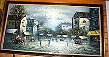 Burnett, oil on board, flower market in Paris,