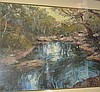 Jon O'Hanlon, acrylic on card, Billabong scene,