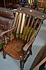 Old ash farmhouse arm chair, slatted back, turned