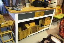 Hand crafted artisan made kitchen island bench unit, made from recycled timber, 80cm L x 64cm