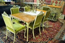 An Enderslea made Venezia dining suite comprising of a dining table 191cm x 80cm, 6 x matching dining chairs and a buffet