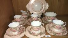 Part Tuscan English china tea service, Setting for six, missing one teacup, 20 pieces