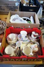 Table lot: 2 boxes, qty of china trios incl. Royal Stafford, Royal Albert, qty sandwich & cake plates