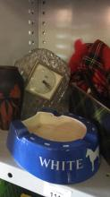 items including Whitehorse bar piece pokerwork vase , clock and a Childs Scottish bagpipes set