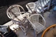 3 vintage split cane verandah chairs, 1 childs