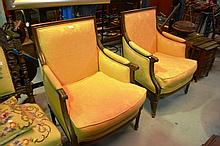 Pair walnut French armchairs, Empire style