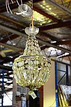 Ornate cut glass basket style chandellier