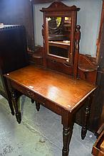 Edwardian kauri pine dressing table, mirror back,