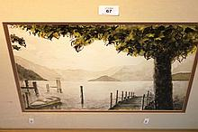 M. Moss, 'Lake Como from Bellagio', watercolour,