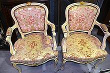 Pair of French Louis XV style carved & painted