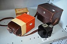 3 vintage cameras, 2 in original cases incl.